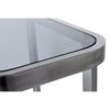 James Cocktail Table - Smoked Grey Glass, Brushed Stainless Steel - ACD-21104-01