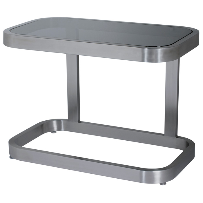 James End Table Smoked Grey Glass Brushed Stainless