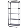 James 5-Shelf Bookcase - Smoked Grey Glass, Stainless Steel - ACD-21104-10