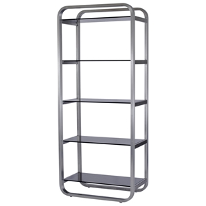 James 5-Shelf Bookcase - Smoked Grey Glass, Stainless Steel