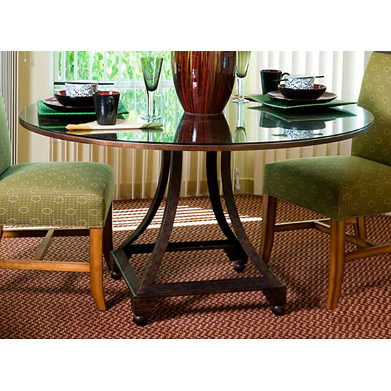 Bianca Dining Table - Metallic Bronze Base, 48'' Glass Round Top - ACD-2301-04-G48R