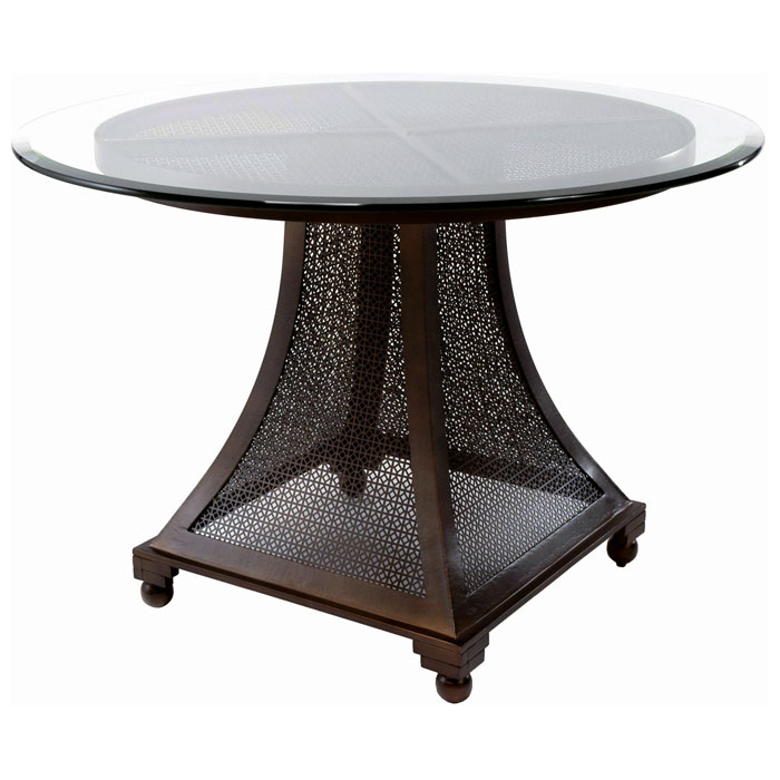 Bianca Dining Table Meshed Metal Base 48 Glass Round Top Acd