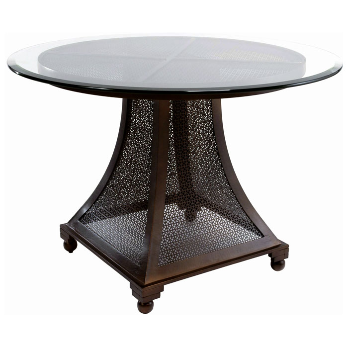 Bianca Dining Table   Meshed Metal Base, 42u0027u0027 Glass Round Top   ACD ...