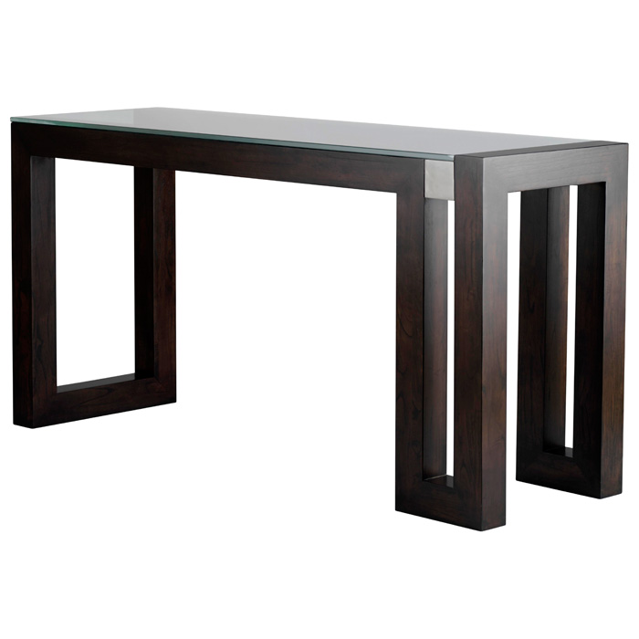 Calligraphy Wood Console Table Espresso Glass Top Dcg