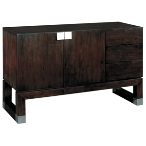 Calligraphy Wood Buffet Table - Espresso, Stainless Steel Accents