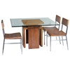 Sebring Dining Table - White Limed Cognac Base, Square Glass Top - ACD-30505-04-CG