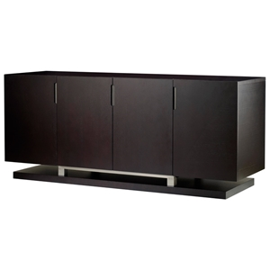 Sebring Wood Buffet Table - Mocha on Oak, Stainless Steel Accents