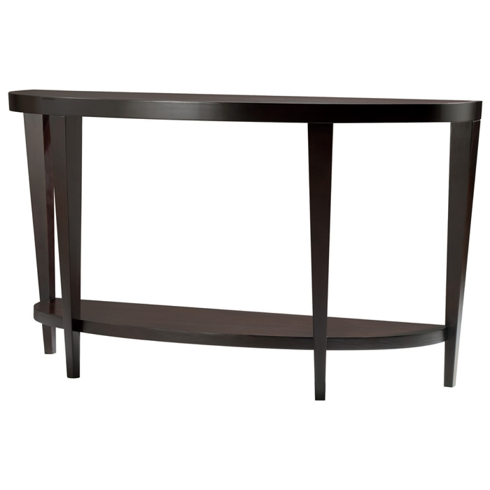 Marla Half Moon Console Table   Espresso On Birch, Lower Shelf   ACD 30506  ...