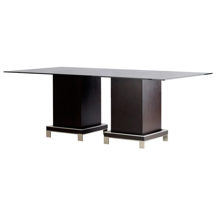 Force Dining Table - Mocha on Oak, Rectangular Glass Top - ACD-30507-04-G84