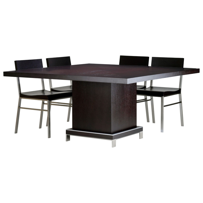 Force Square Dining Table - Mocha on Oak, Stainless Steel Accents - ACD-30507-045