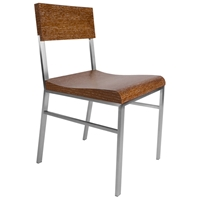 Force Side Chair - Brushed Stainless Steel, White Limed Cognac