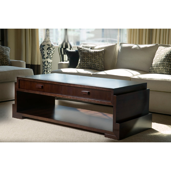 Vienna Rectangular Cocktail Table - Walnut, Open Shelf, 2 Drawers - ACD-30702-01