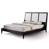 Bonita Panel Bed - Mocha on Oak, Cream Upholstery, Tapered Legs - ACD-30703-80