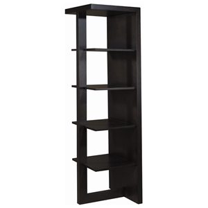 Samantha Contemporary Wood Bookcase - Espresso, 4 Shelves