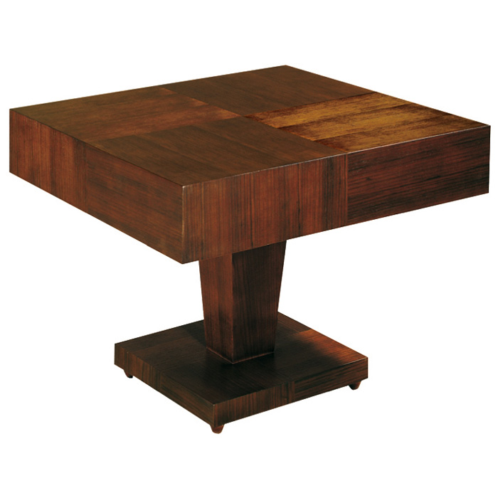 Sarasota two tone end table walnut square top pedestal