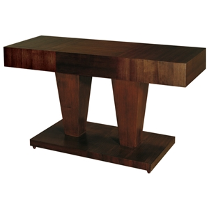 Sarasota Two Tone Console Table - Walnut, Dual Pedestal Base