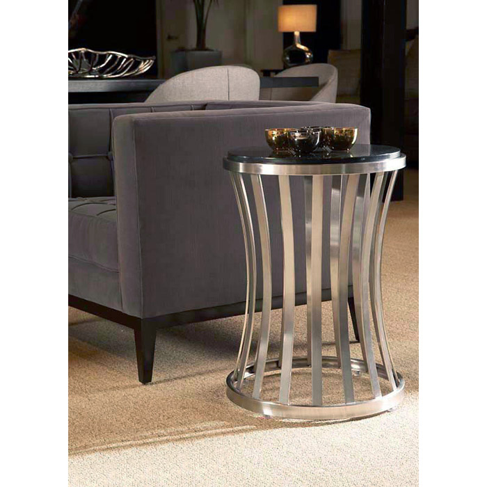 Alex Metal End Table - Satin Nickel Base, Black Granite Top - ACD-20702-02-SA-AB