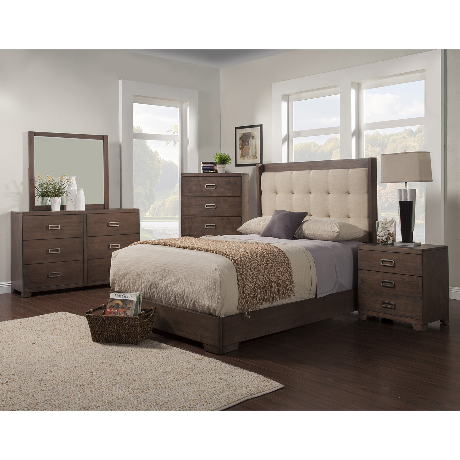 Savannah Platform Bed - Pecan, Tufted, Upholstered Headboard - ALP-1100-BED
