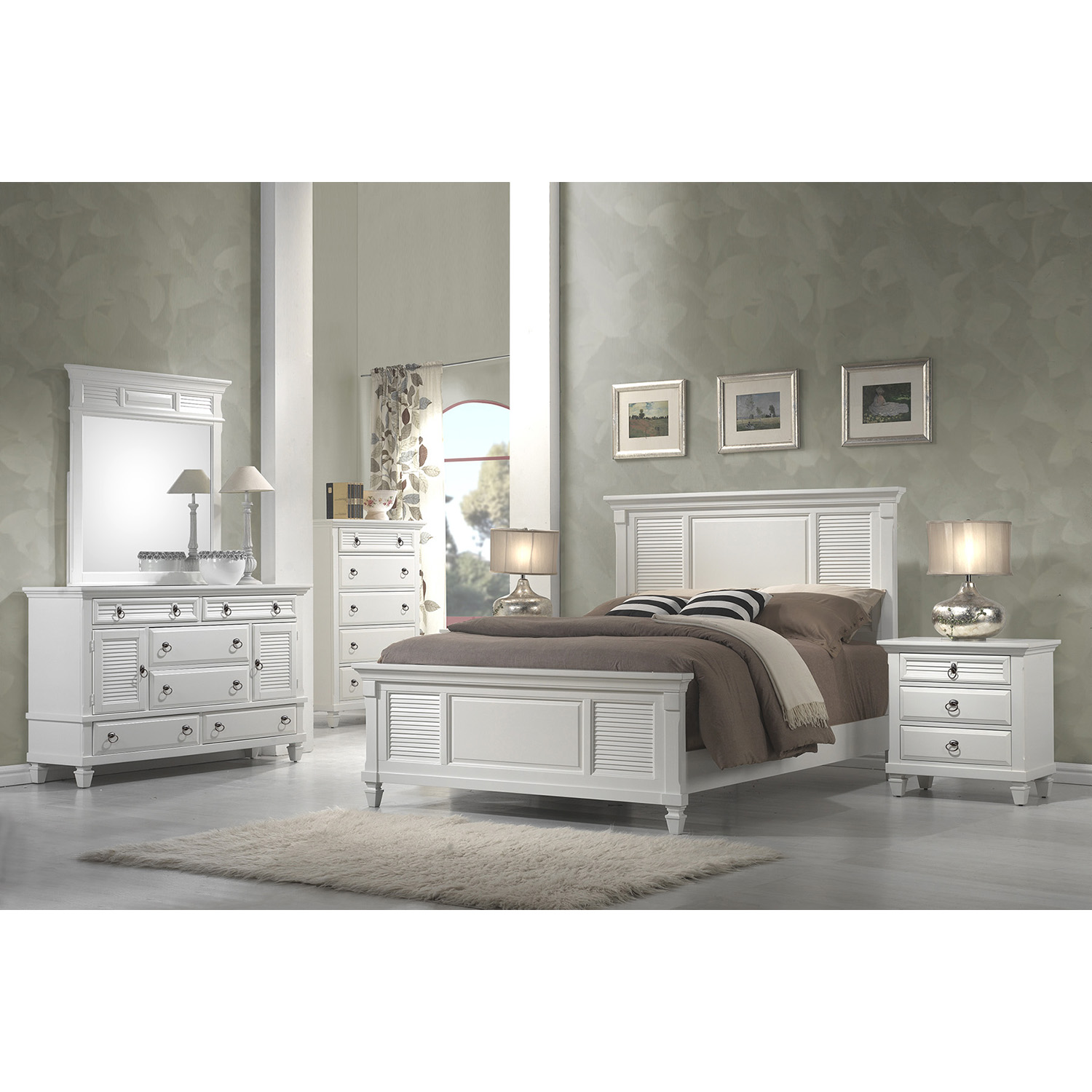 Winchester 5 Drawers Chest - White - ALP-1306-W-CH