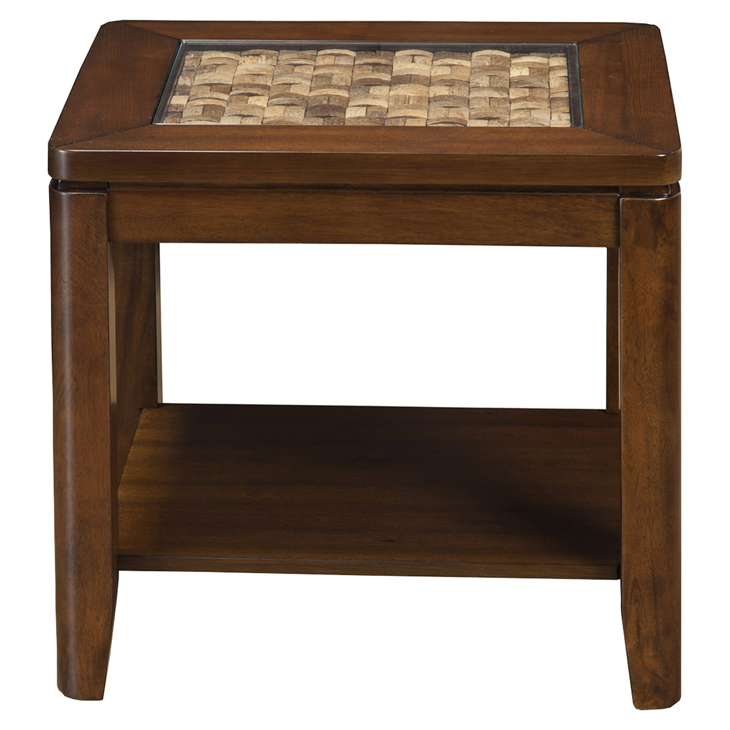 Granada end table glass insert and shelf brown merlot for Kitchen table with glass insert