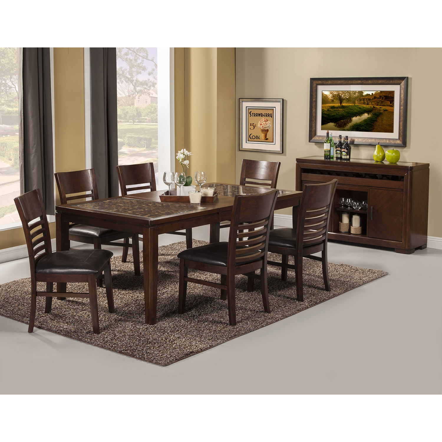 Granada 7-Piece Dining Set - Brown Merlot - ALP-1437-SET-7PC