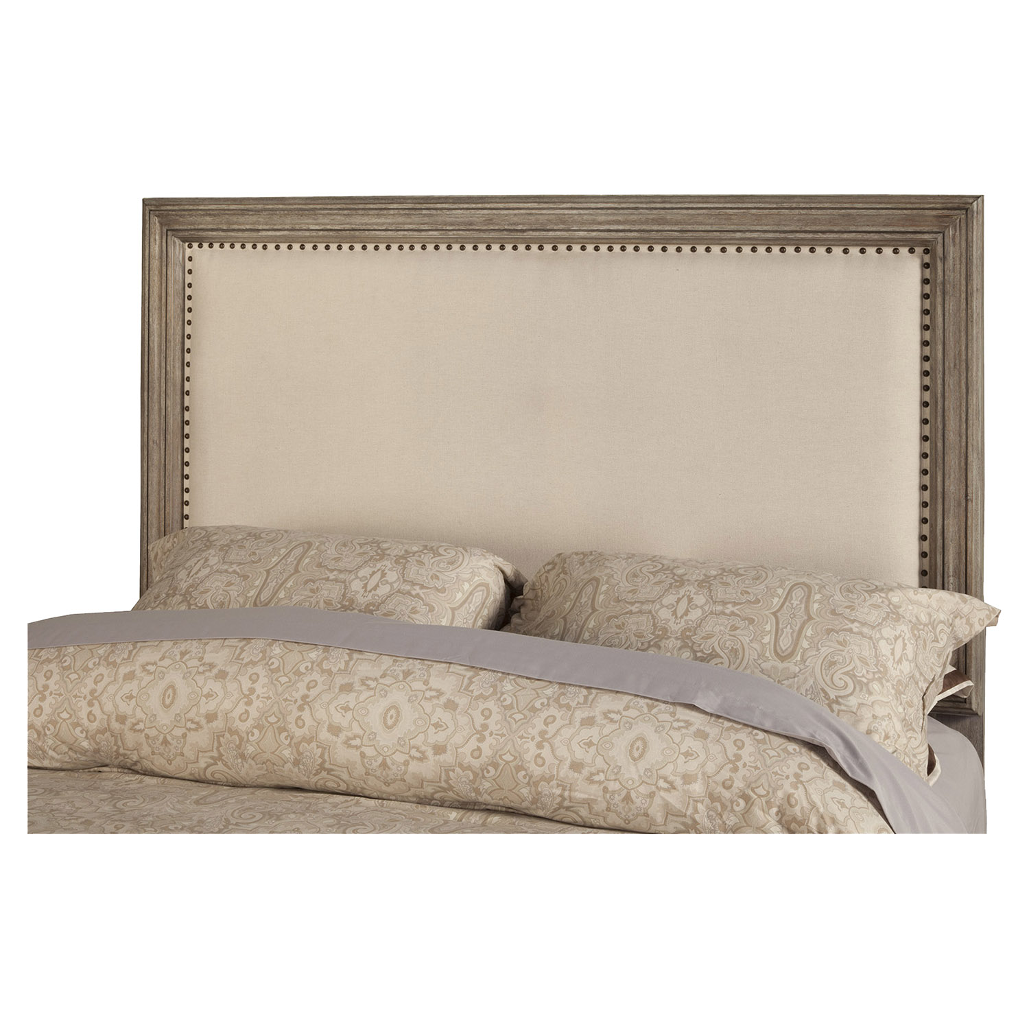 Camilla Panel Bed - Antique Gray, Upholstered Headboard, Nailheads - ALP-1800-BED