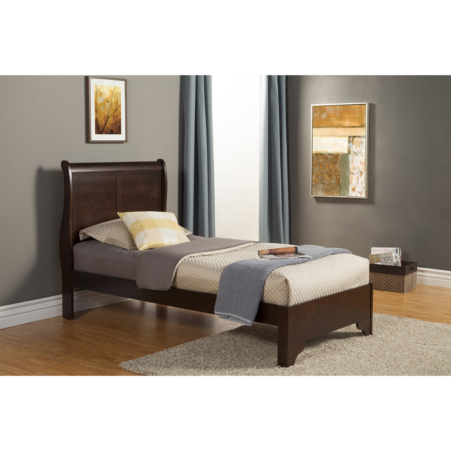 west haven twin sleigh bed cappuccino - Twin Sleigh Bed