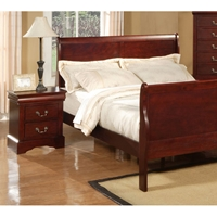 Louis Philippe II Bed with Nightstands in Cherry