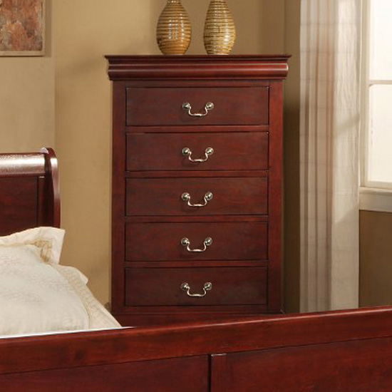 Louis Philippe II 5 Drawer Chest in Cherry Finish - ALP-2704