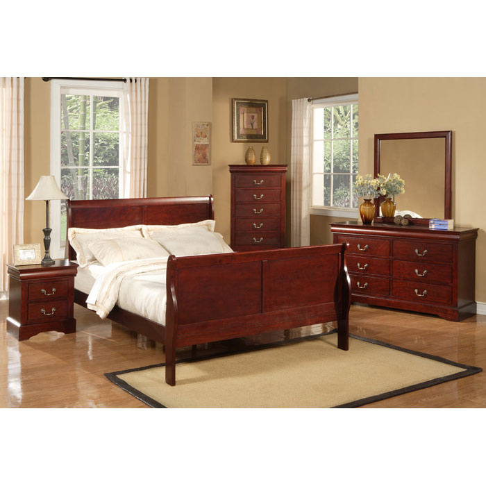 Louis Philippe II Bed with Nightstands in Cherry - ALP-2700-2702-3PC-SET