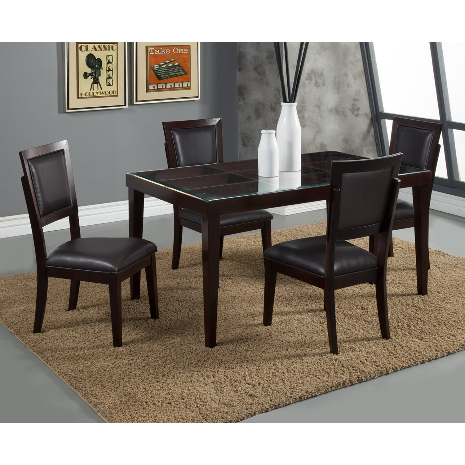 Midtown Side Chair - Espresso Frame, Black Upholstery - ALP-581-02B