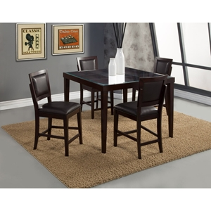Midtown 5-Piece Counter Set with Black Upholstered Chairs