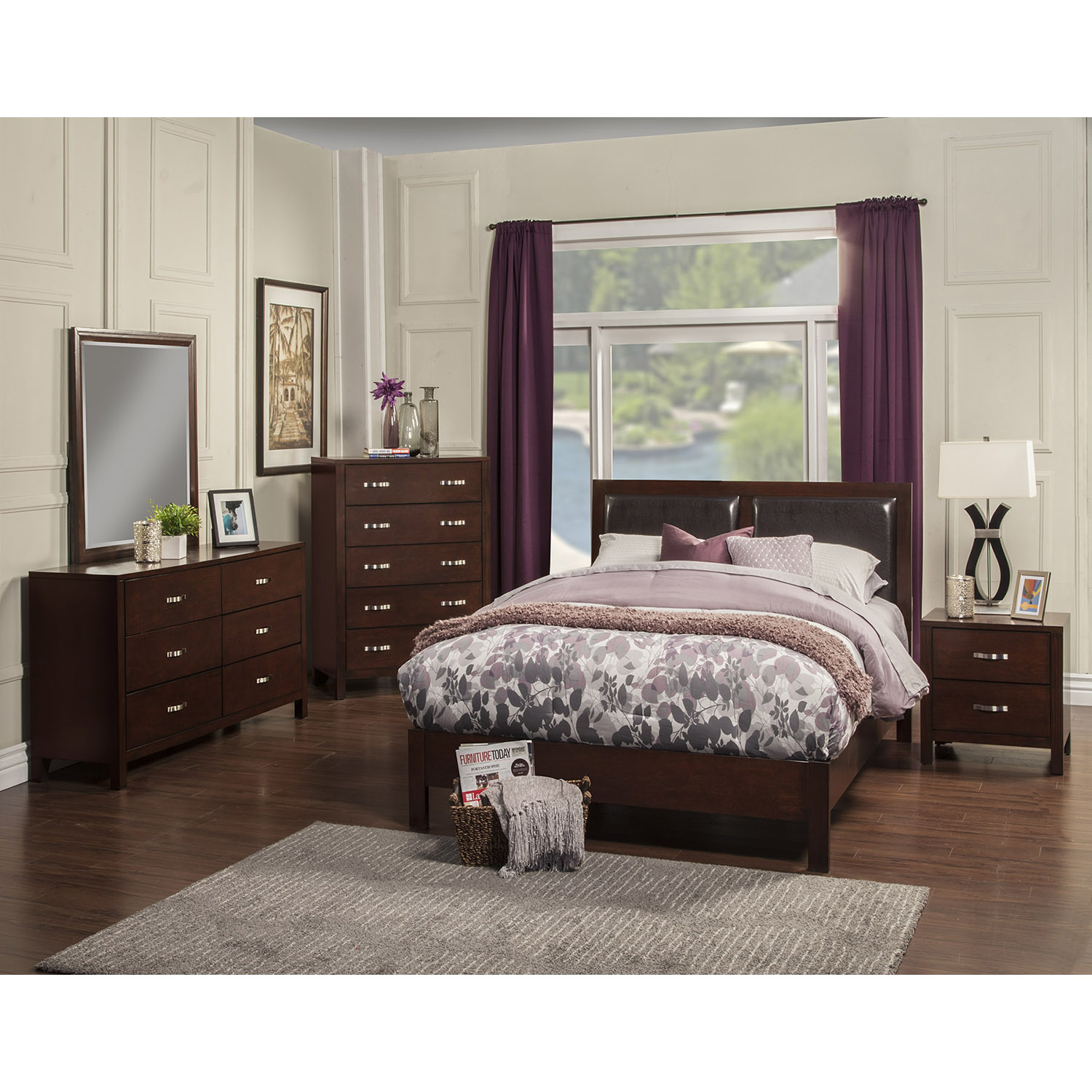 Costa Mesa 2-Drawer Nightstand - Medium Cherry - ALP-NCC-02