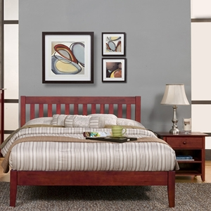 Portola Queen Platform Bed Set - Light Cherry