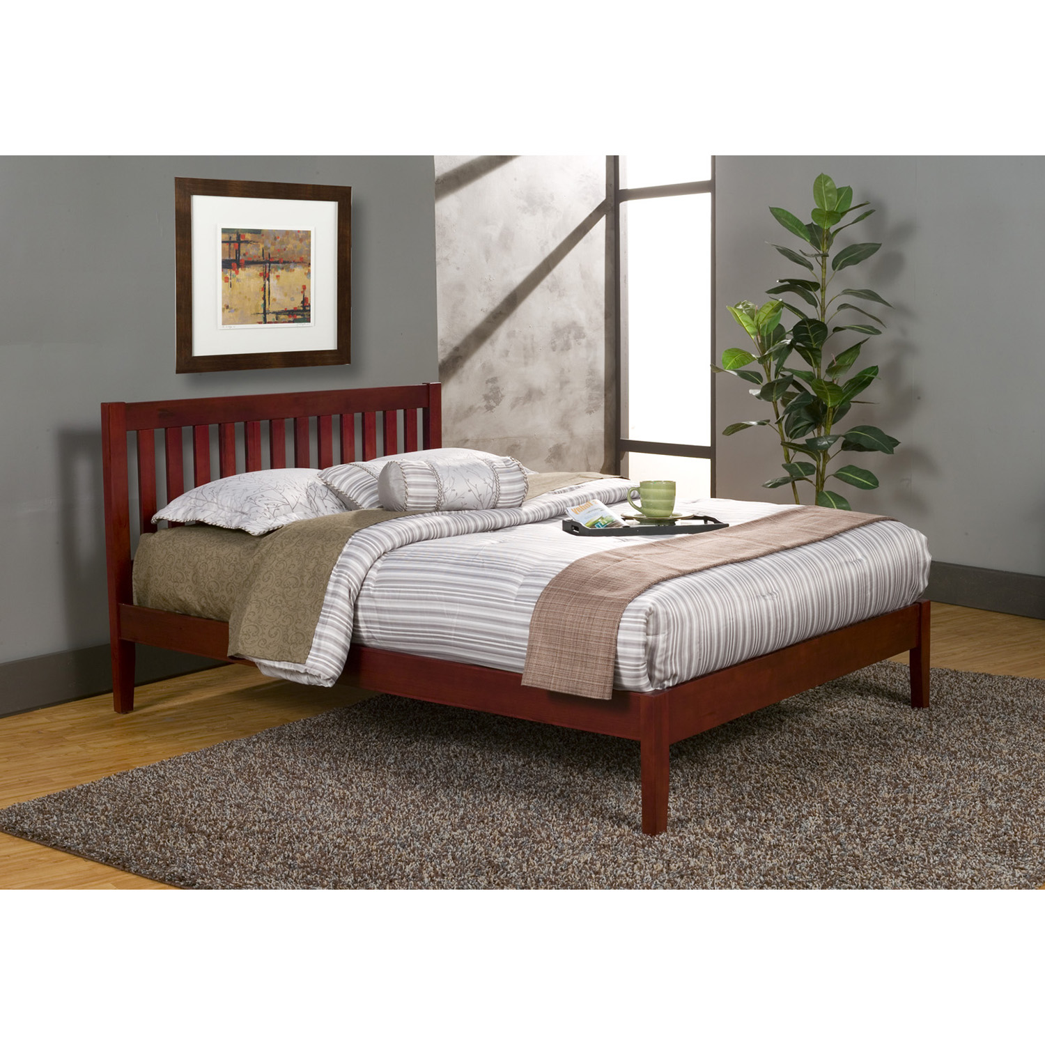 Portola Queen Platform Bed - Light Cherry - ALP-PB-01-QLC