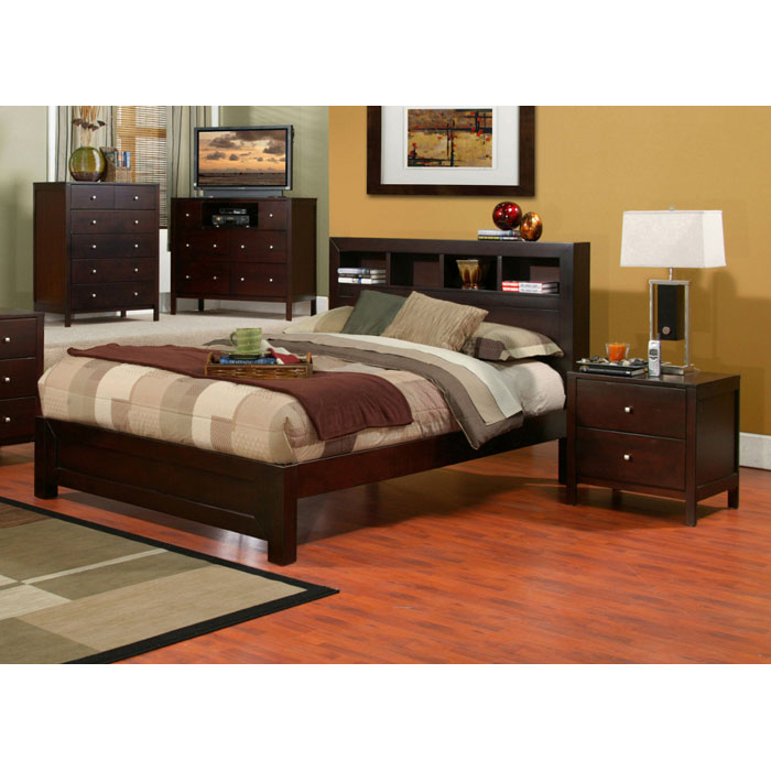 solana 3 piece bedroom set with bookcase headboard dcg