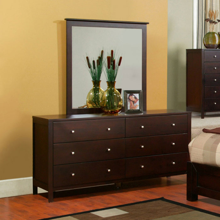 Solana Six Drawer Dresser in Cappuccino - ALP-SK-03