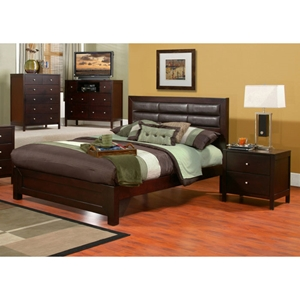 Solana Panel Bed with Nightstands in Cappuccino