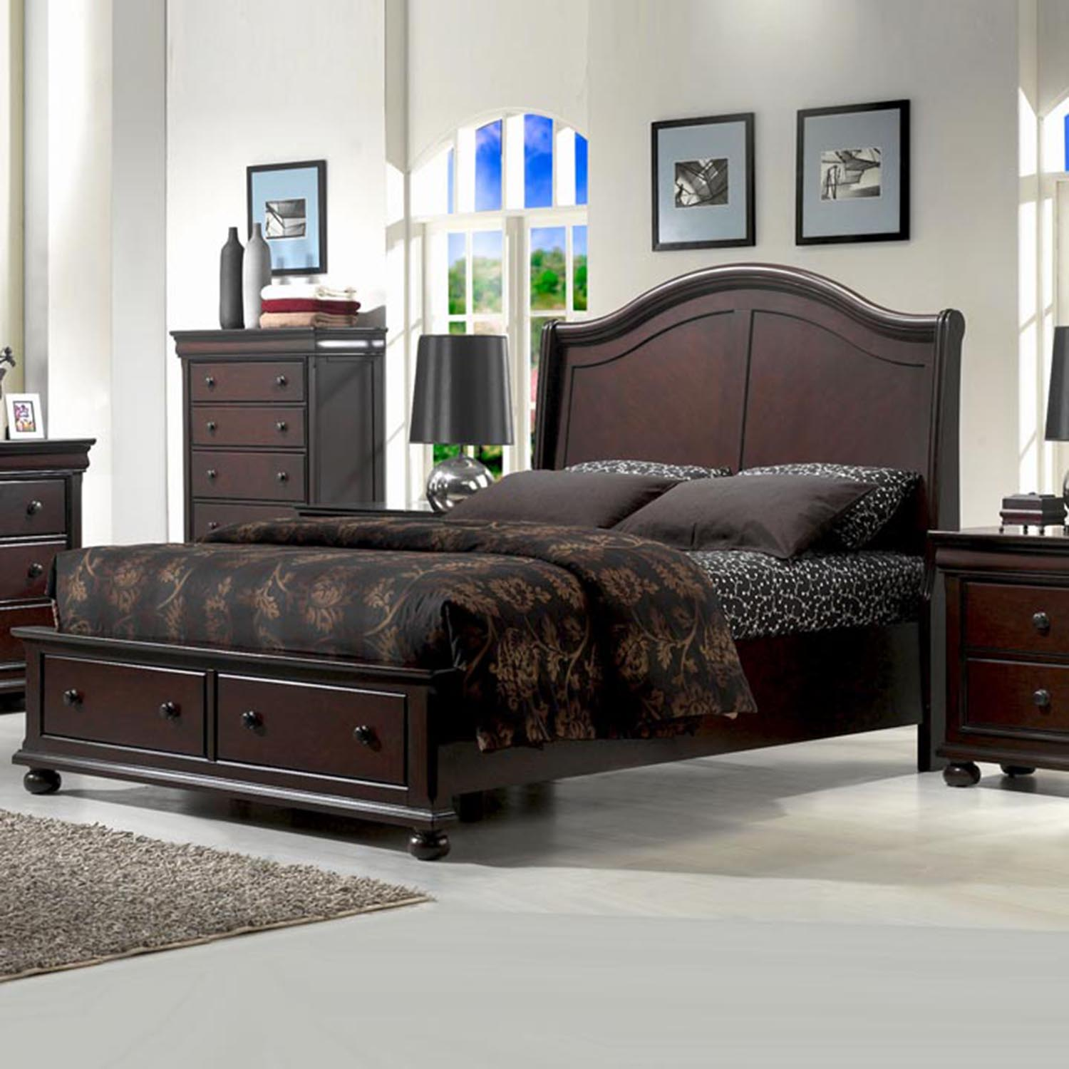 Hyde Park Storage Bed Set - Merlot - AW-1310-SB-BED-SET
