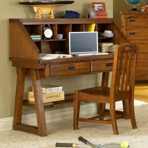Heartland Desk and Hutch in Spice Brown
