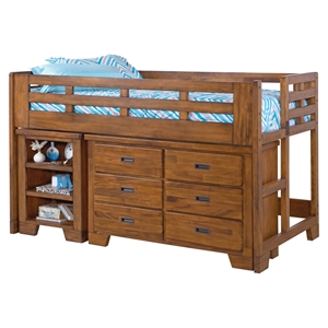 Heartland Low Loft Bed with Dresser - Spice Brown