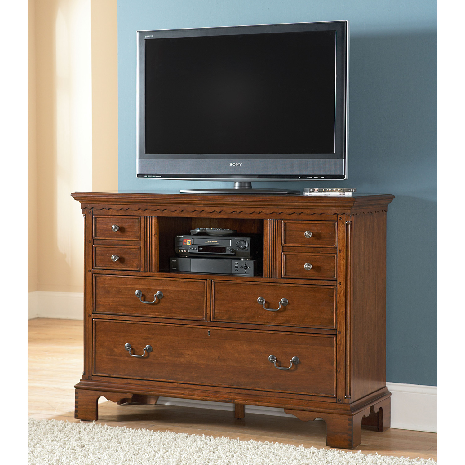 Nantucket Media Chest - Honey Brown, Antique Pewter Pulls - AW-1900-232