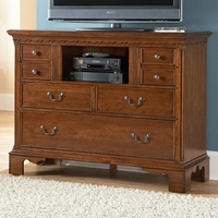 Nantucket Media Chest - Honey Brown, Antique Pewter Pulls