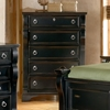 Heirloom Black Wood Chest with 5 Drawers - AW-2900-150