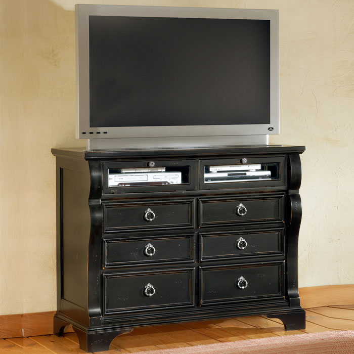 Heirloom Black TV Chest with 6 Drawers - AW-2900-232
