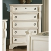 Heirloom 5 Drawer Wood Chest - Antique White, Pewter Rings - AW-2910-150
