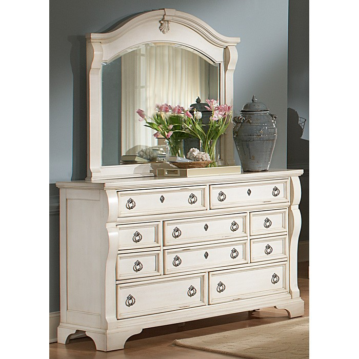 Heirloom Dresser And Mirror Set Antique White 10
