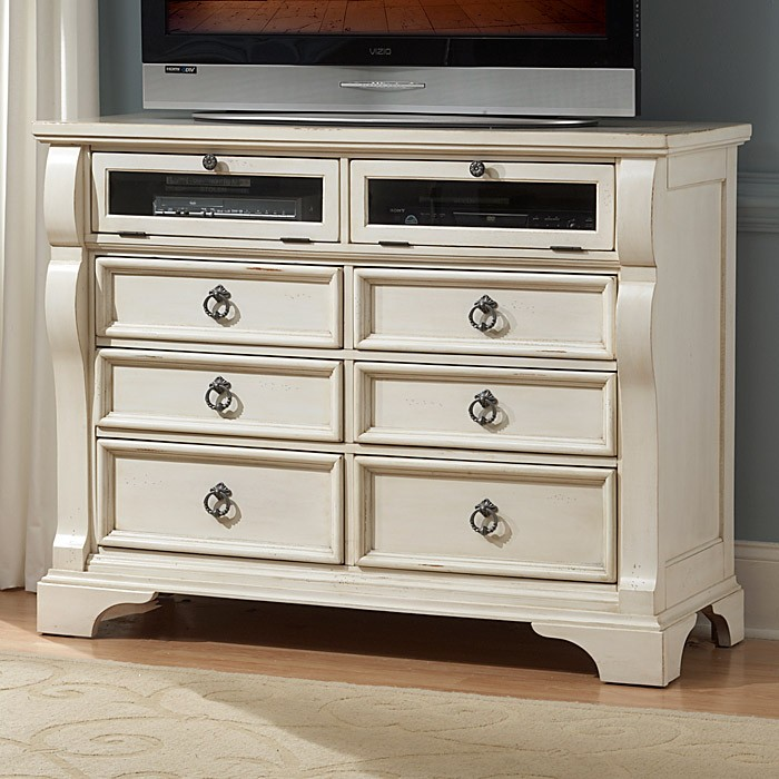 Heirloom Entertainment Chest - Antique White, Pewter Rings - AW-2910-232