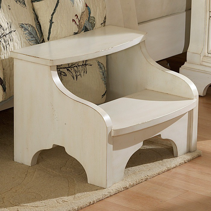 Heirloom Wood Bedside Footstool - Antique White
