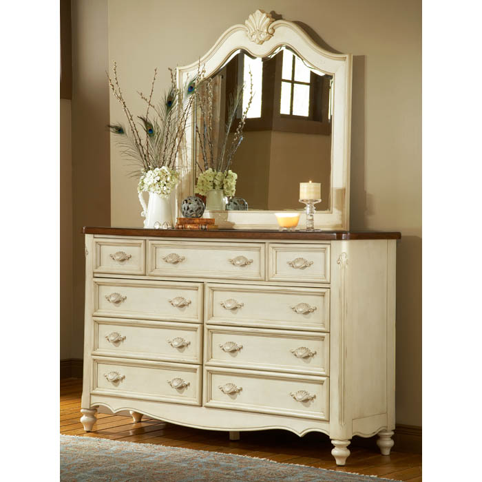 Chateau antique white dresser and mirror set dcg stores Antique bedroom dressers and chests